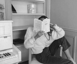 black and white, book, and reading image