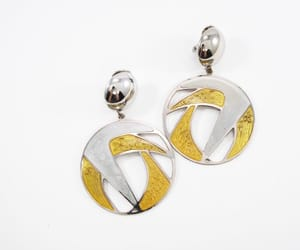 abstract, gold tone, and clip ons image