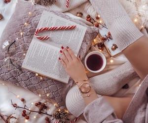 christmas, book, and coffee image
