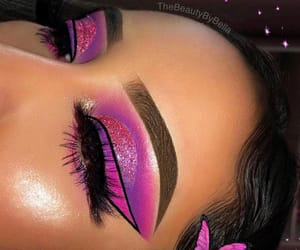 pink, cut crease, and ombre image
