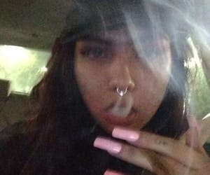 girl, weed, and smoke image