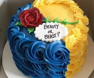 beauty and the beast, birthday cake, and blue image