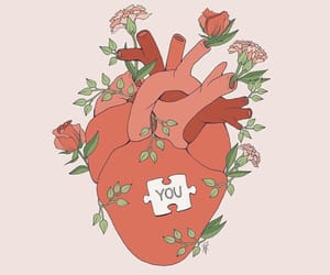 art, flowers, and heart image