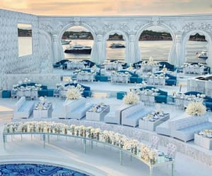 bride, ocean, and white party image