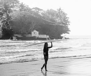 beach, water, and woman image