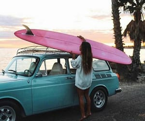 surf, girl, and car image