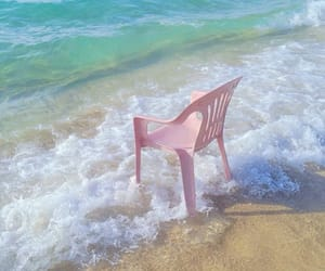 beach, pink, and chair image