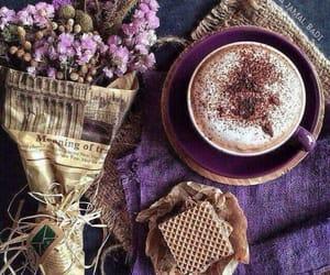 coffee, flowers, and purple image