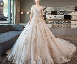 bridal, bridal gown, and gorgeous wedding dress image