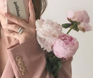 baby pink, roses, and mirror selfie image