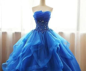 blue prom dress, ball gown prom dress, and party dresses lace image