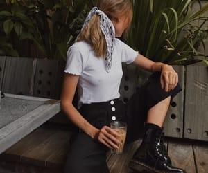 bandana, boots, and coffee image