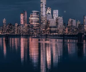 city, hudson river, and new york city image