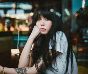 black hair, brunette, and cafe image