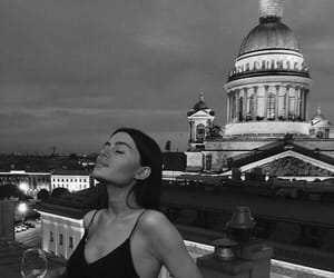 girl, black and white, and city image