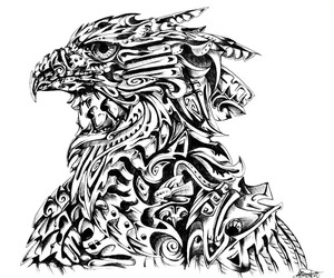 abstract, black and white, and eagle image
