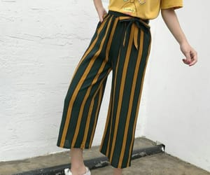 culottes, mustard yellow, and stripped image