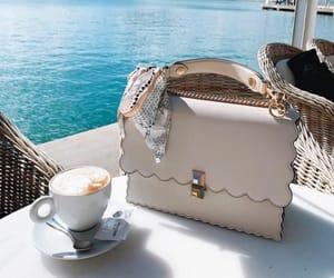 sea, bag, and coffee image