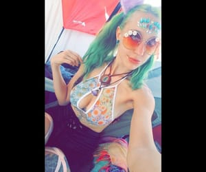green hair, music festival, and edm image