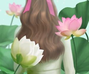 art girl, flower, and illustration image