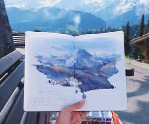 art, mountain, and winter image