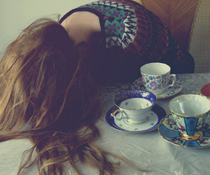girl, tea, and hair image