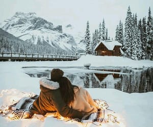 winter, couple, and snow image