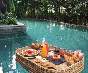 food, pool, and breakfast image