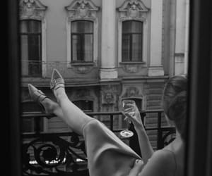 aesthetic, black and white, and wine image