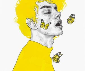 yellow, art, and butterfly image