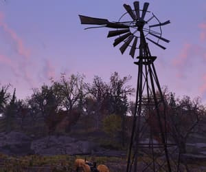 fallout, pink sky, and windmill image