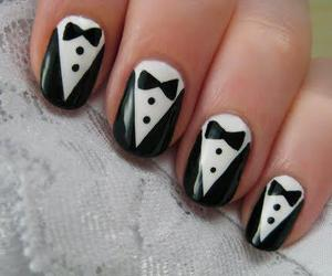 nails, tuxedo, and white image