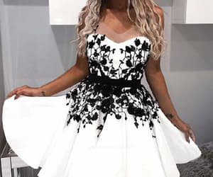 homecoming dress, v-neck homecoming dresses, and white party dresses image