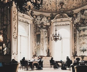 ballroom, chandelier, and curtains image