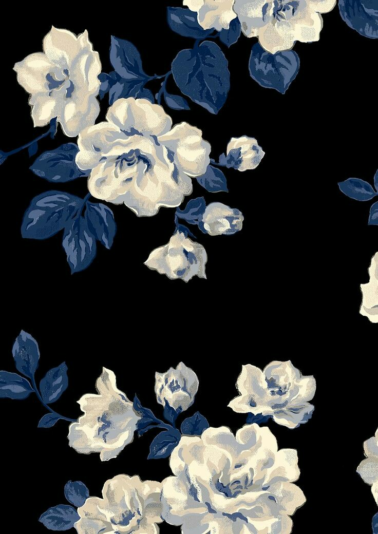 Black Blue Floral Wallpaper On We Heart It