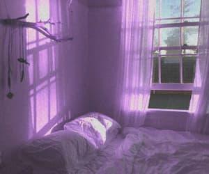 bedroom, light purple, and peaceful image
