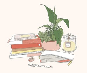 illustration, plants, and books image