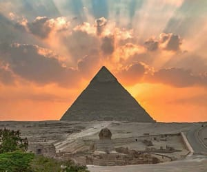 sunset, pyramids of giza, and cario image