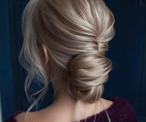blonde, hairstyle, and bun image