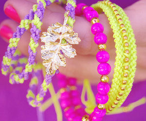 arm candy, neon, and friendship bracelet image