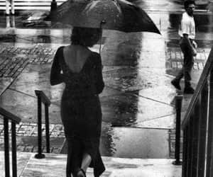 umbrella, black and white, and rain image
