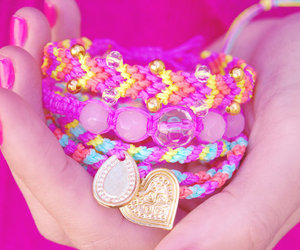 arm candy, neon, and friendship bracelets image