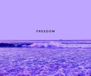 beach, purple, and ocean image