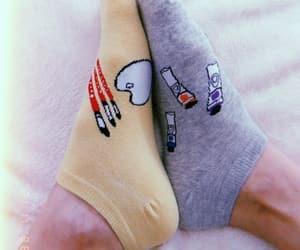 brush, art palette, and socks image