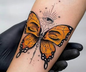 tattoo, butterfly, and orange image
