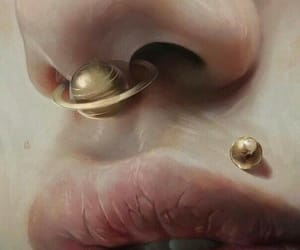 art, lips, and piercing image