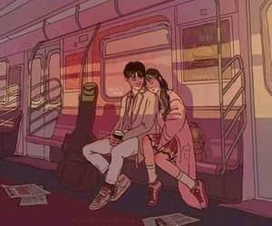 couple, train, and art image