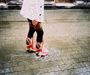 girl, rain, and england image