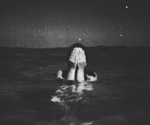 sea, night, and black and white image