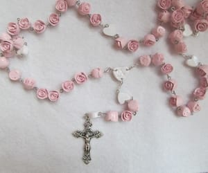 pink, rose, and rosary image